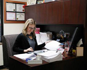 Corporate Office action shot - Jamie