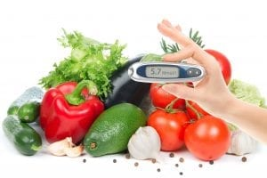 Vegetables with blood sugar glucometer