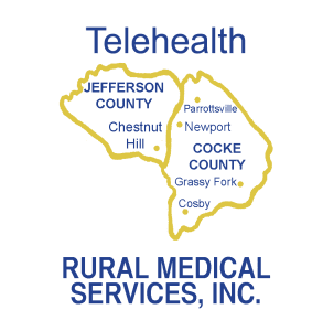 Company Logo that is shaped like Cocke and Jefferson Counties with ceneter locations named. Above the counties it says telehealth and below it says Rural Medical Services, Inc.